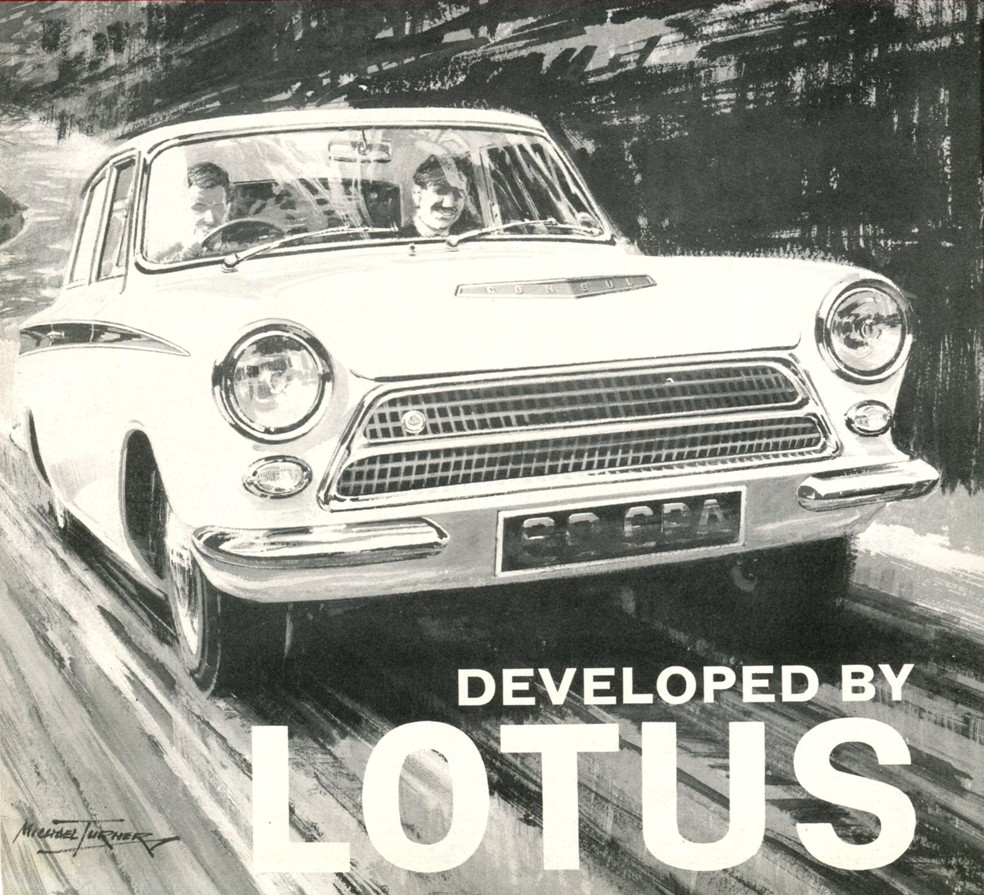 Lotus Cortina Launch Brochure Painting
