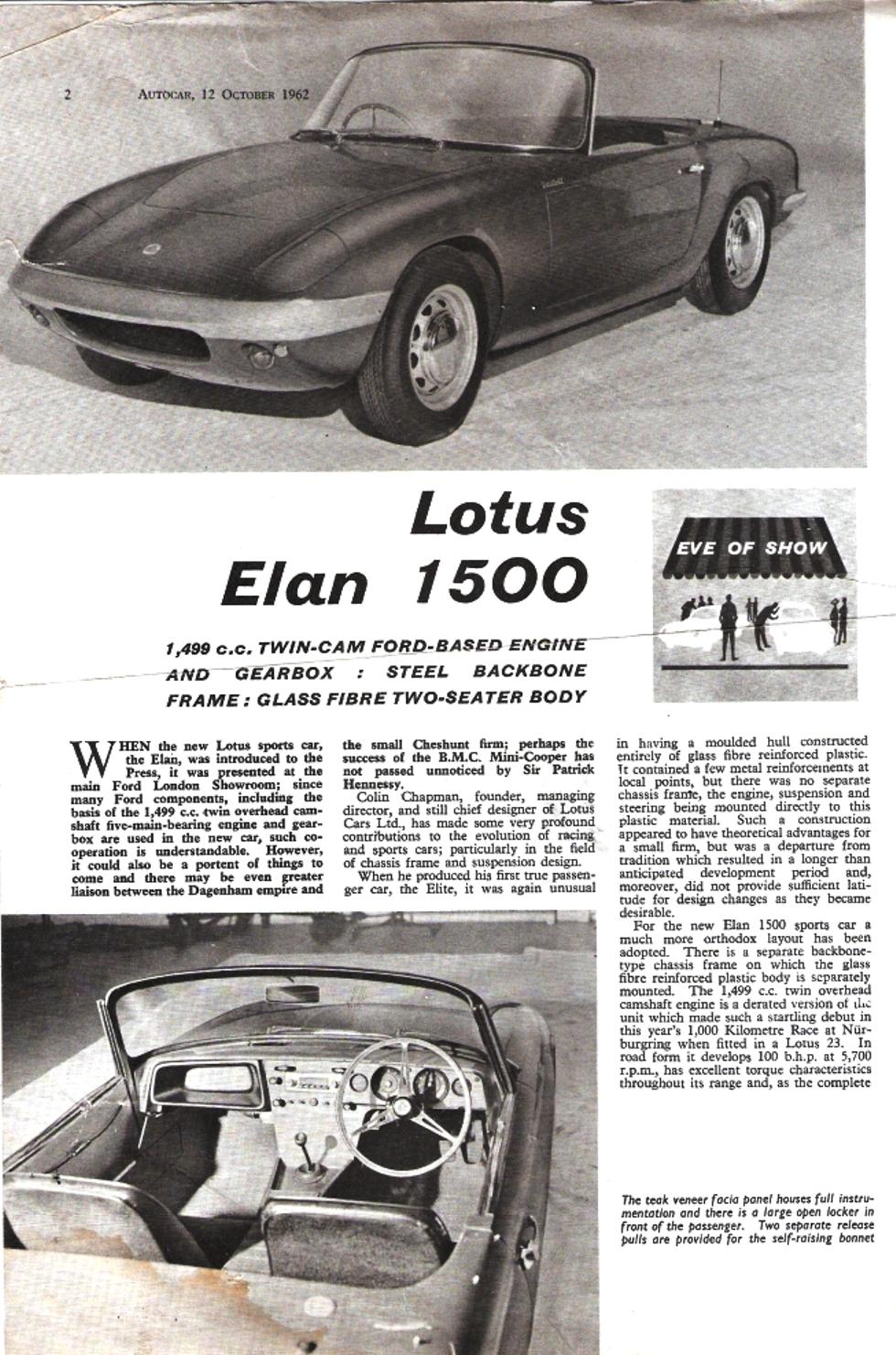 Elan Launch Autocar Oct 62 2